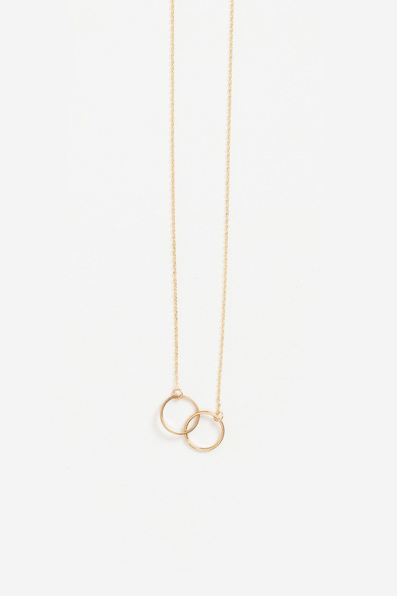 Madison Double Circle Dainty Gold Necklace - Morning Lavender