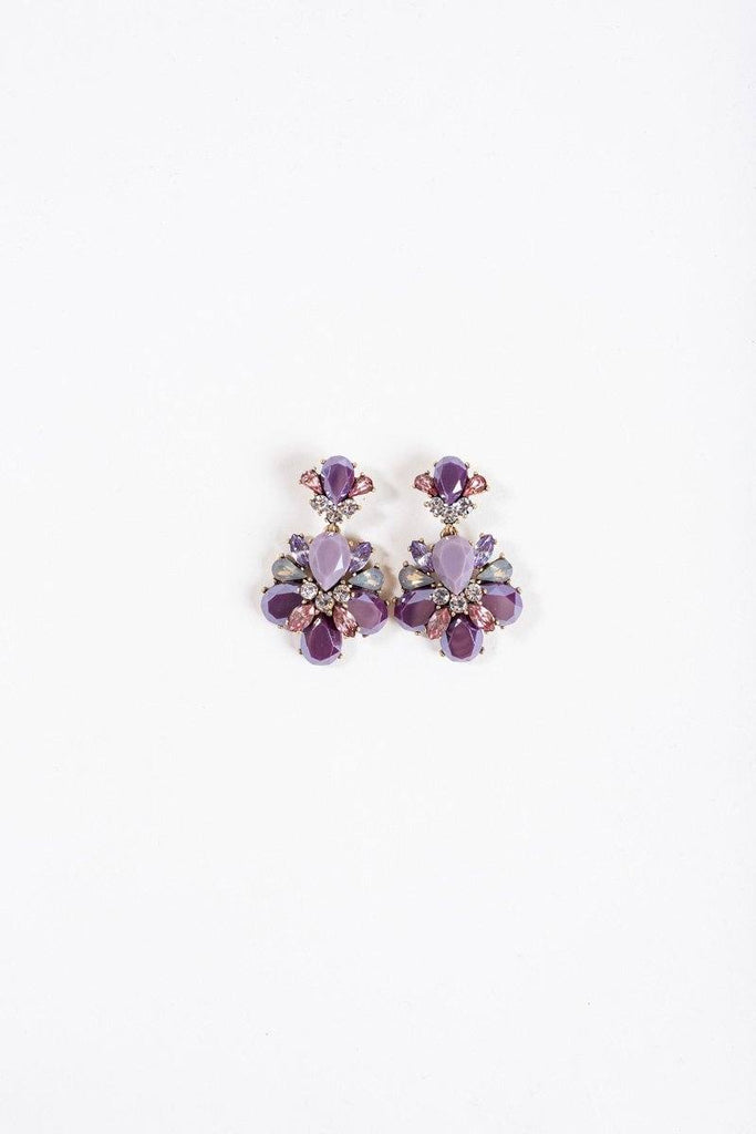 Nora Purple Crystal Earrings Earrings JOIA
