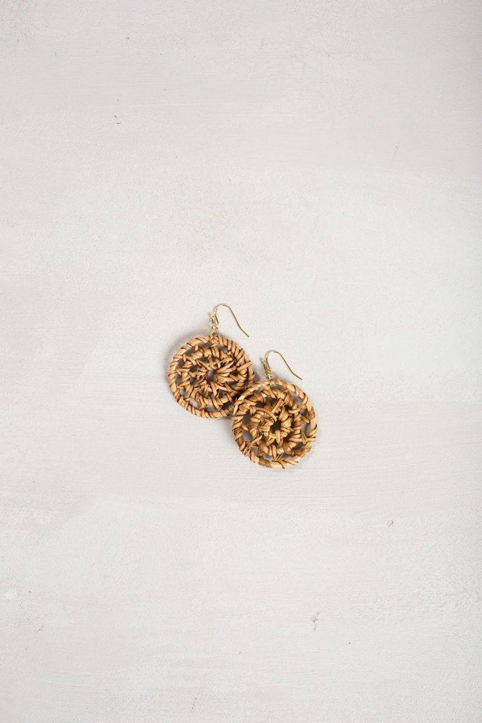 Sienna Round Straw Earrings Earrings JOIA