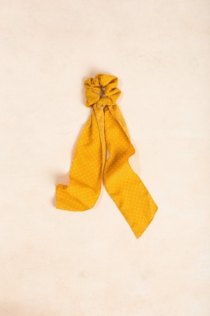 Quinn Mini Polka Dot Ribbon Scrunchie Hair Fame Yellow