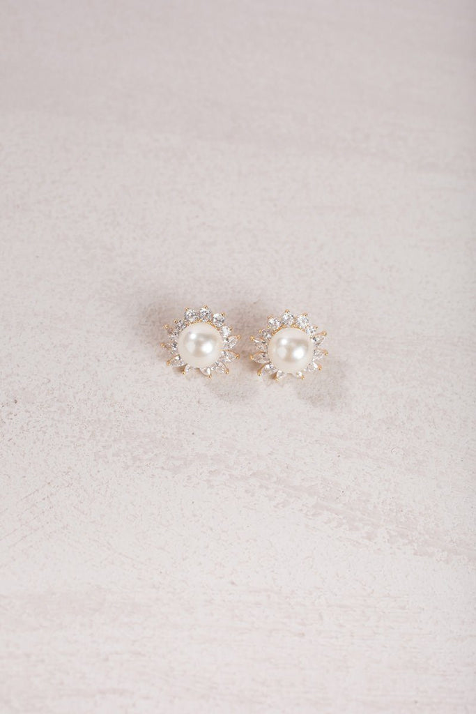 Arlene Crystal Halo Pearl Earrings Earrings Joia Pearl