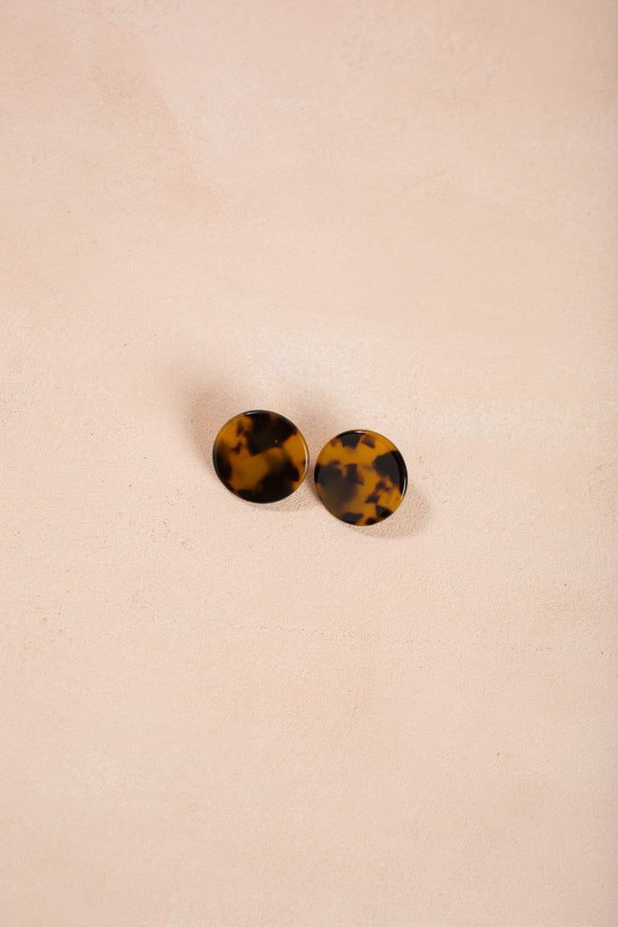 Trina Round Statement Earrings Earrings Joia Tortoise