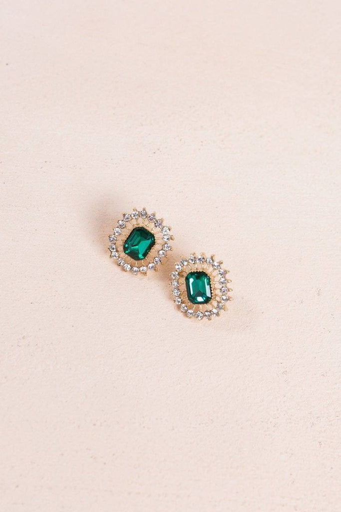 Simone Emerald Crystal Earrings Earrings Ana