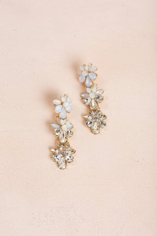 Devin Clear Flower Hang Earrings Earrings Fame