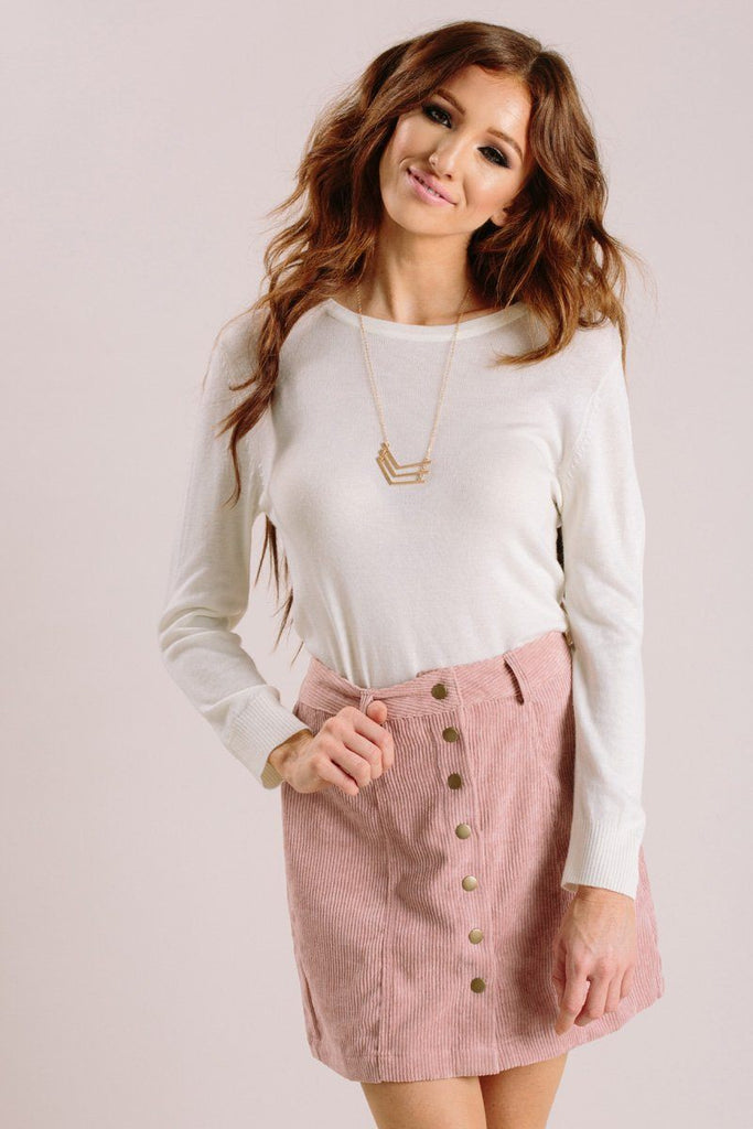 Jasmine Ivory Long Sleeve Thin Sweater Sweaters MAK