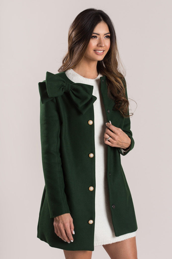 Ella Hunter Green Bow Coat Outerwear Moon