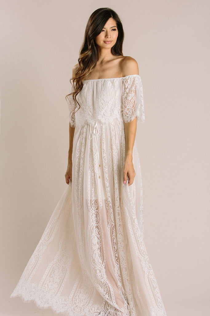 Alessia Lace Off the Shoulder Maxi Dress Dresses Aakaa Off White Small