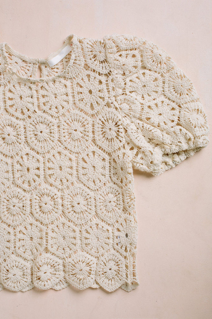 Gail Crochet Short Sleeve Top Tops Idem Ditto
