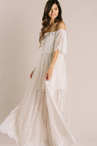 Alessia Lace Off the Shoulder Maxi Dress Dresses Aakaa