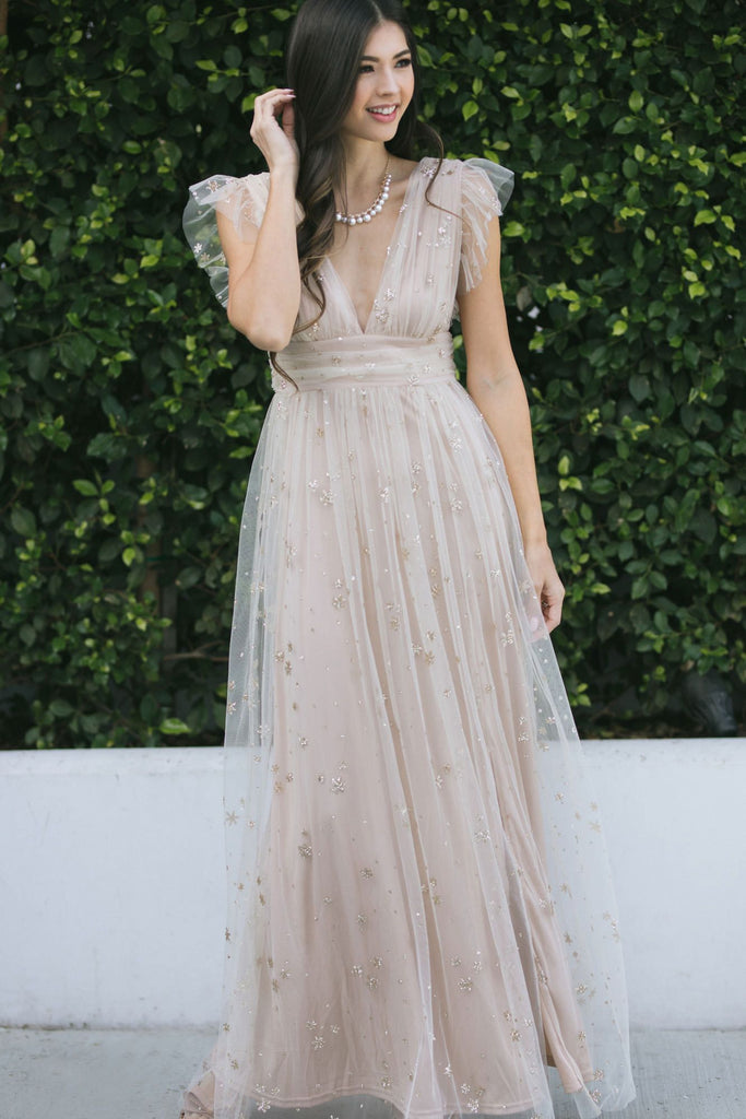Wendy Tulle Ruffle Sleeve Maxi Dress Dresses Soieblu Nude Small