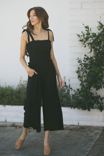 Francesca Smocked Babydoll Jumpsuit Jumpsuits ee:some Black Small