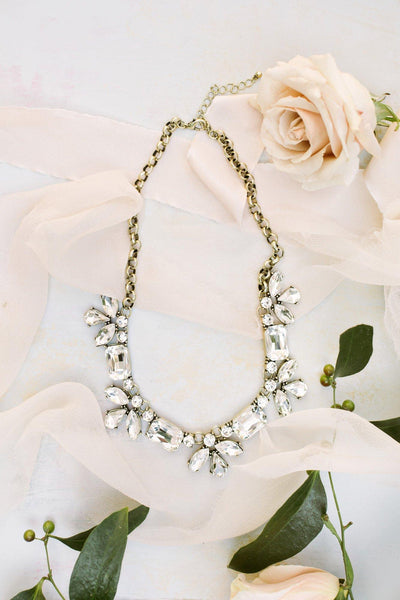 Isabella Geometric Crystal Statement Necklace Necklaces Girly Crystal