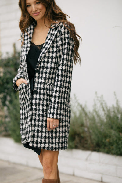 Chrissy Houndstooth Lapel Coat Outerwear Hyfve Black Small