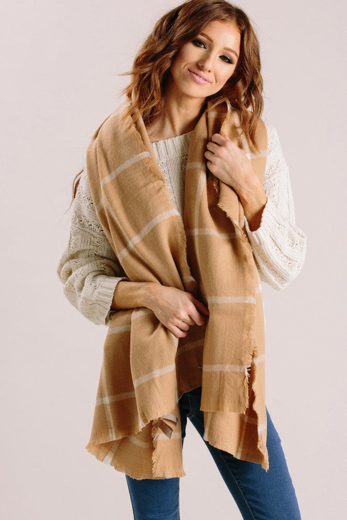 Leah Camel Plaid Scarf Scarves JOIA