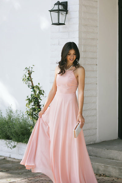 Emma Flowy Maxi Dress Dresses Maniju Blush Small