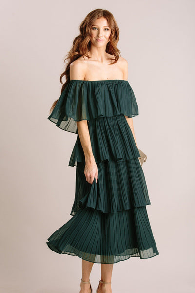 Vera Pleated Ruffle Dress Dresses JUST ME Hunter Green Small