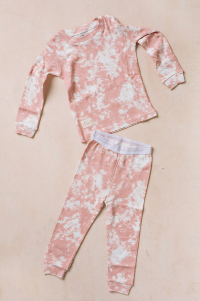 Kids Long Sleeve Tie Dye Pajama Set Kids Salon De Bebe Pink XS (12-24M)