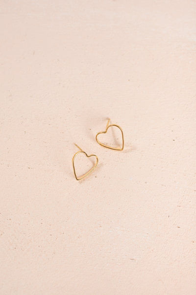 Nina Gold Dipped Heart Earrings Earrings FAME Gold