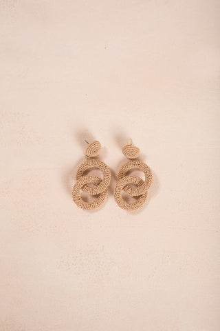 Charlotte Beaded Dangle Earrings Earrings Joia Taupe