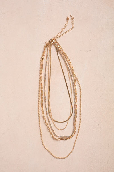 Gia Multi Layered Chain Necklace Necklaces Fame Gold