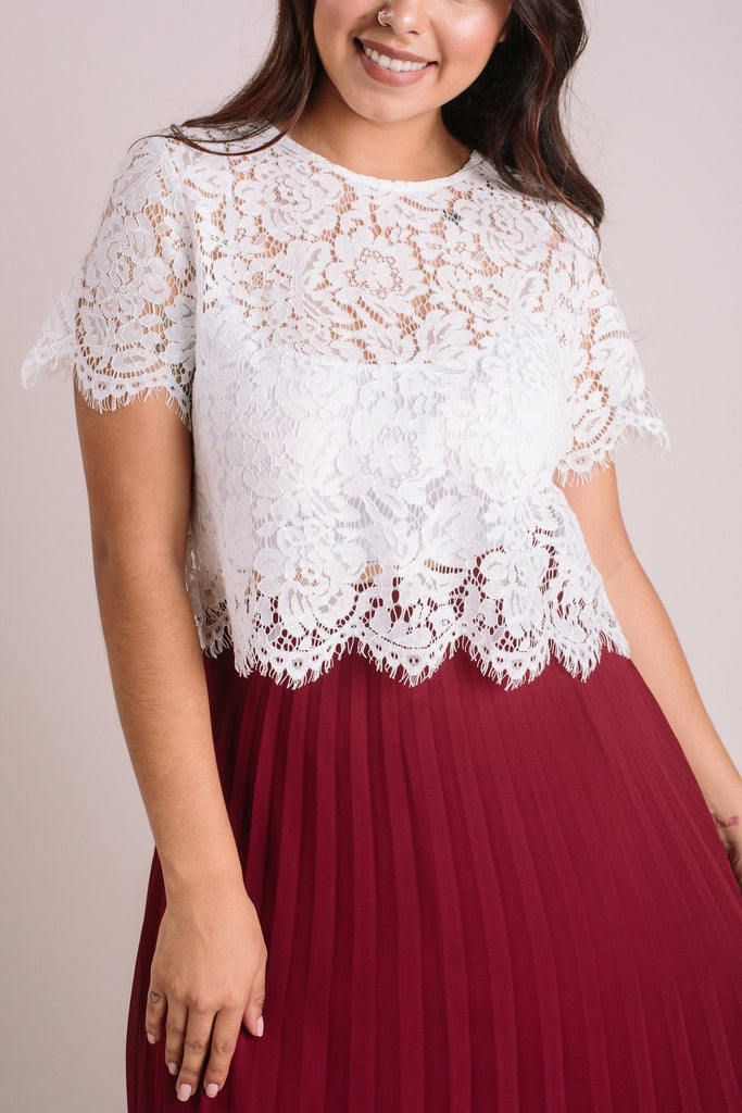 Camille Ivory Short Sleeve Lace Top Tops Maniju Ivory Large