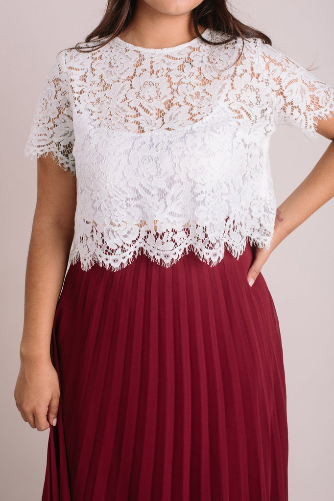 Camille Ivory Short Sleeve Lace Top Tops Maniju