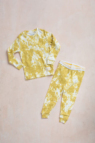 Kids Long Sleeve Tie Dye Pajama Set Kids Salon De Bebe Mustard XS (12-24M)