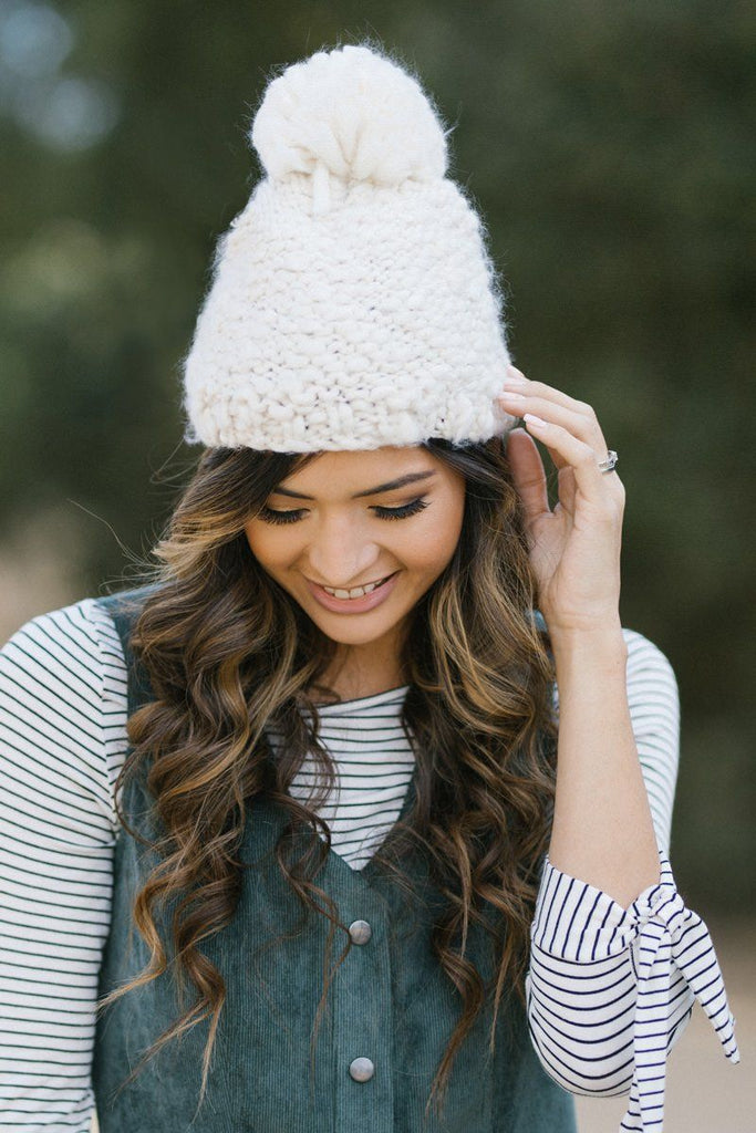 Christy Pom Pom Knit Beanie Hats FAME