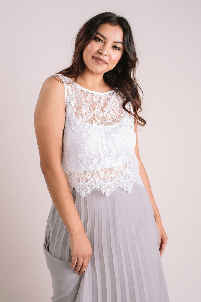 Celeste Sleeveless Lace Top Tops Maniju White Large