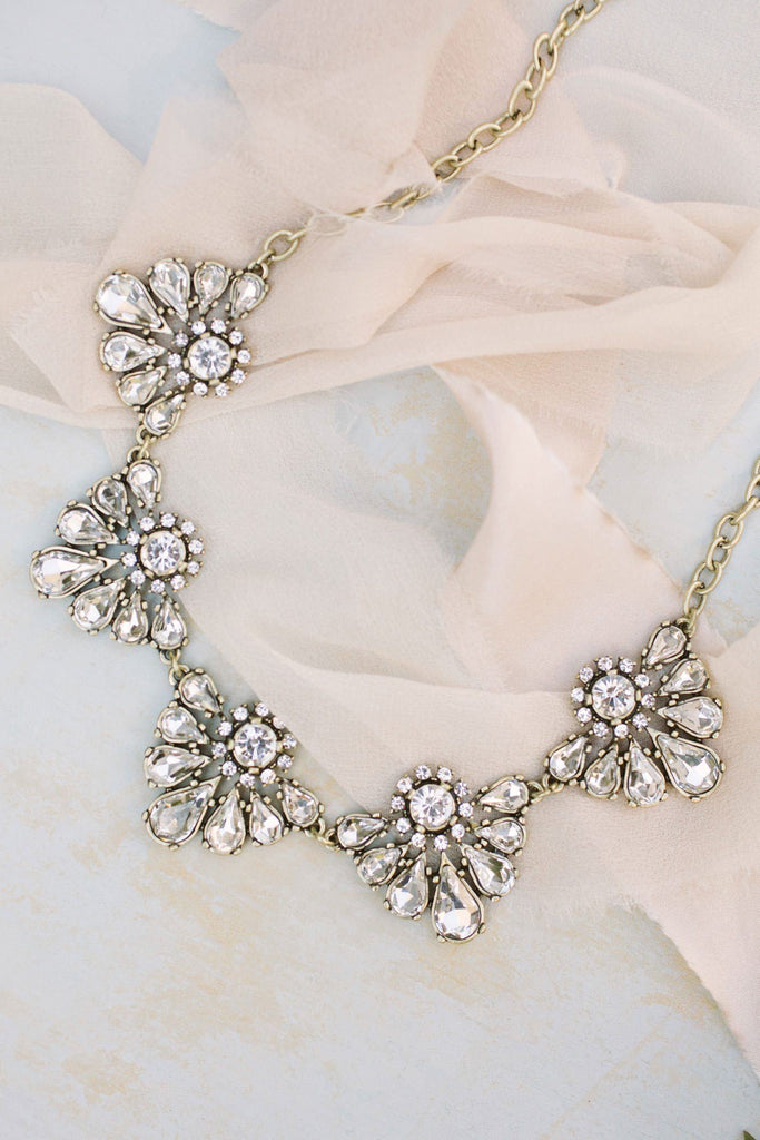 Aubrey Crystal Statement Necklace Necklaces Girly Crystal