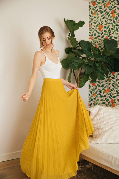 Simone Pleated Maxi Skirt Skirts Aakaa