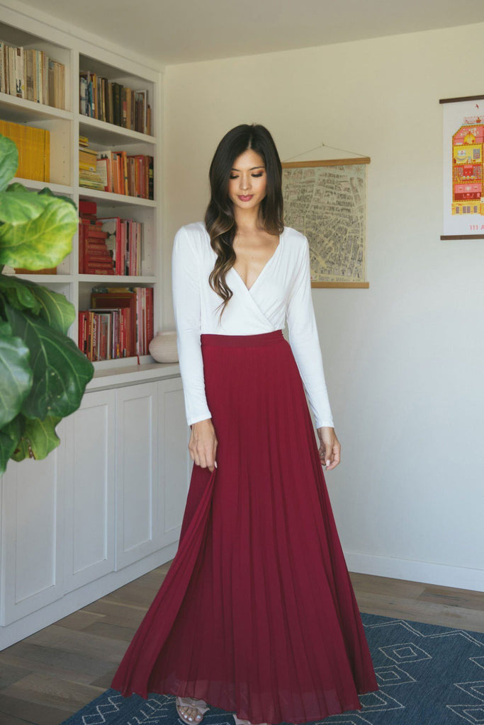 Simone Pleated Maxi Skirt Skirts Aakaa Burgundy X-Small