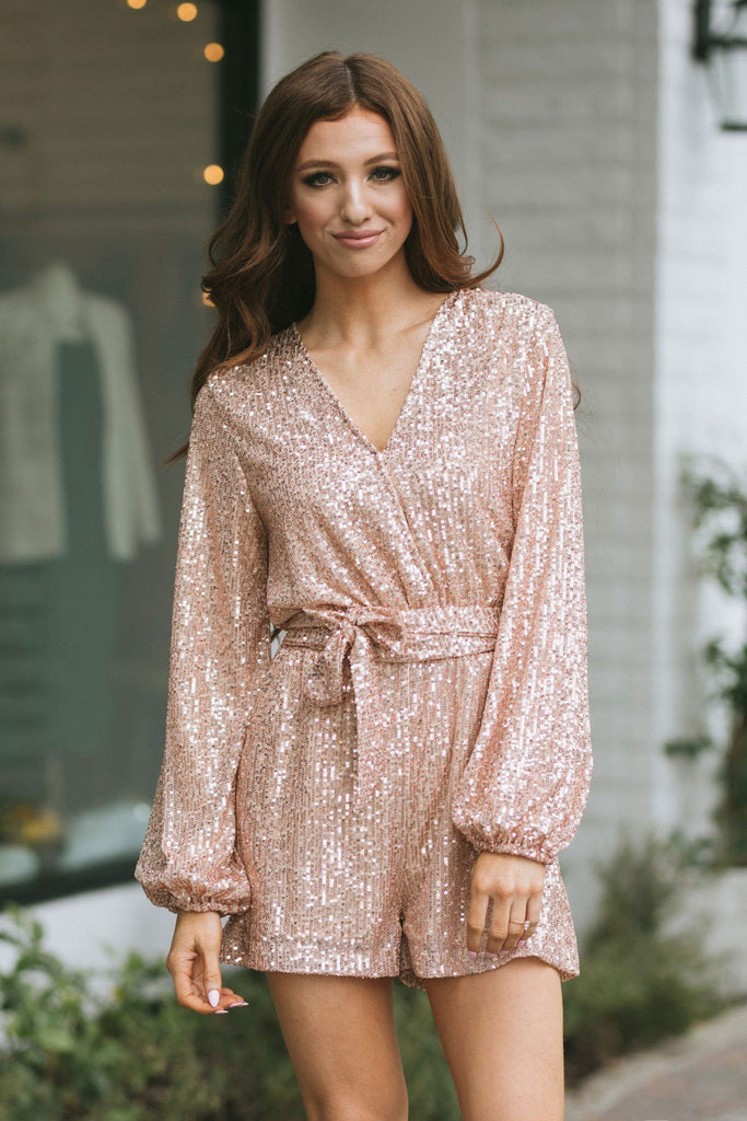 Diana Surplice Sequin Longsleeve Romper Rompers Saints & Hearts Rose Gold Small