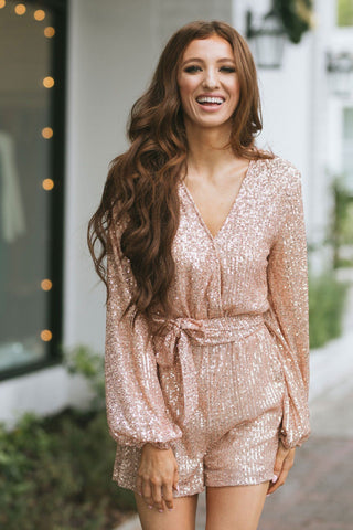 Diana Surplice Sequin Longsleeve Romper Rompers Saints & Hearts