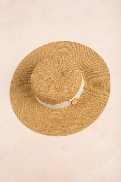 Ava Button Straw Hat Hats Fame Dark Tan