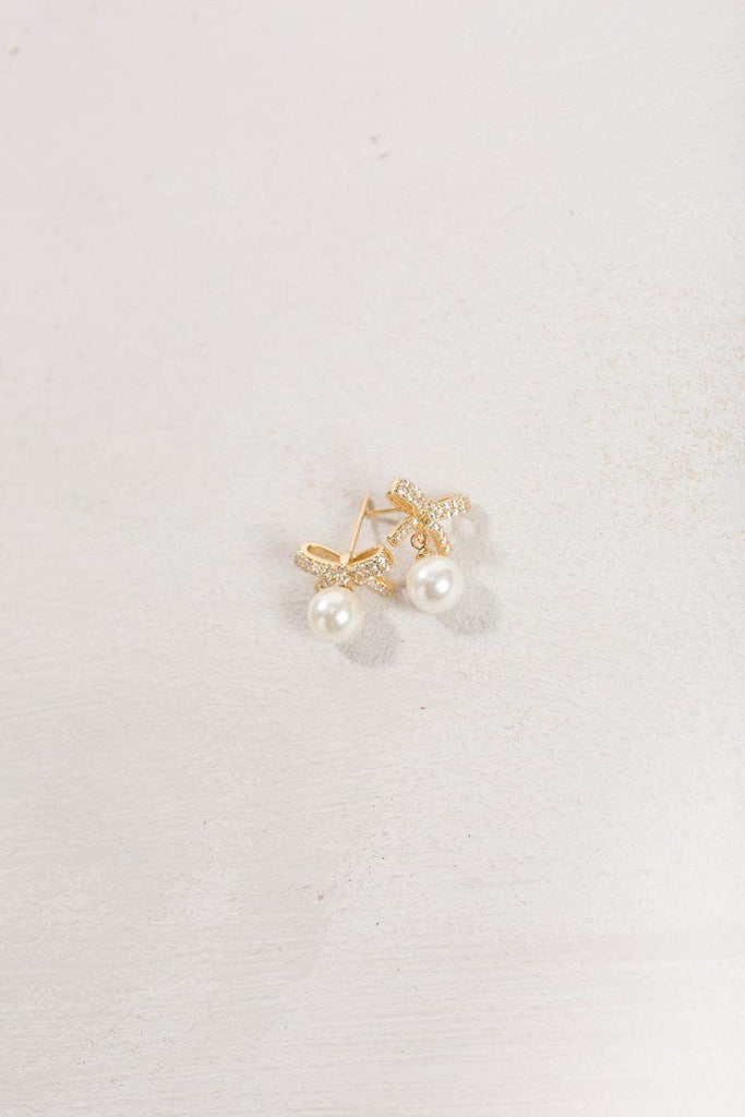 Brenna Mini Crystal Bow Pearl Earrings Earrings Joia Gold