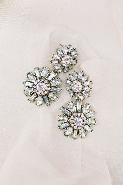 Celine Crystal Flower Statement Earrings Earrings Girly Crystal