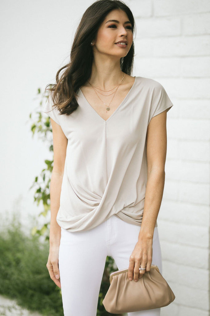 Laurel V-Neck Twist Front Top Tops Double Zero Stone-Grey Small