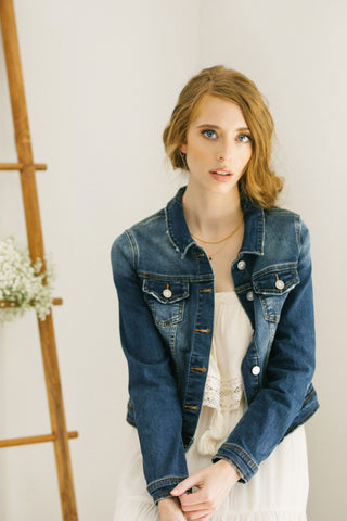 Alexa Dark Wash Denim Jacket Outerwear Kancan