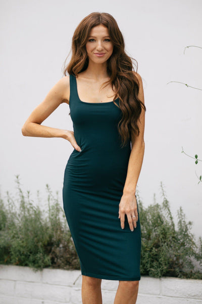Clarissa Sleeveless Bodycon Midi Dress Dresses Final Touch Hunter Green Small