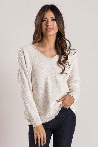 Ana Ivory Boucle V-Neck Pullover Sweaters Dreamers
