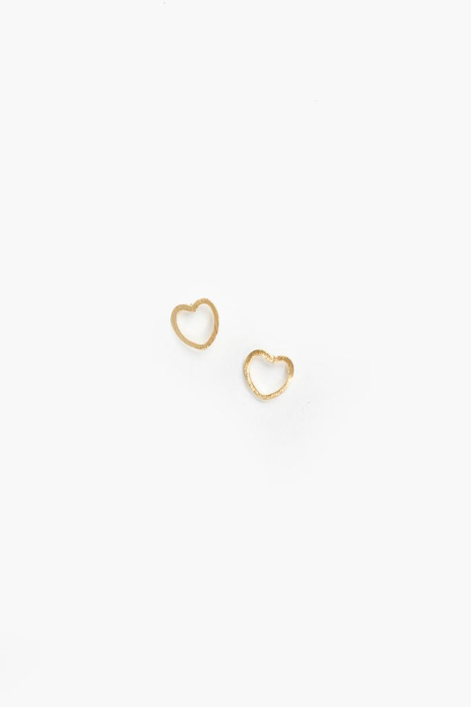 Val Dainty Gold Heart Earrings Earrings FAME