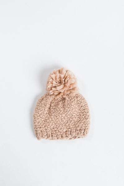 Christy Pom Pom Knit Beanie Hats Look by M pink