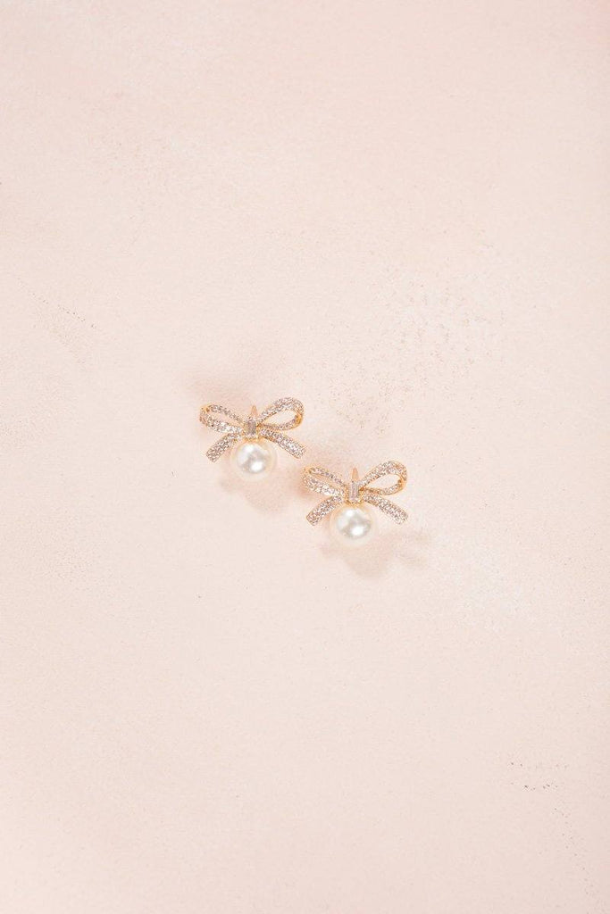 Adrienne Crystal Bow Pearl Earrings Earrings Joia Gold