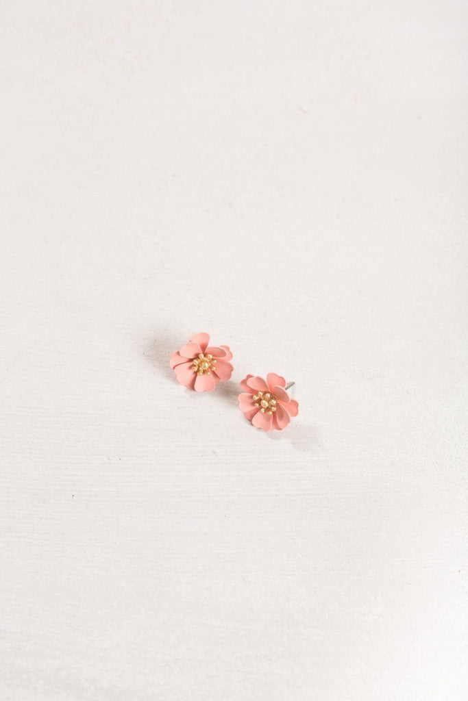 Allie Pink Flower Earrings