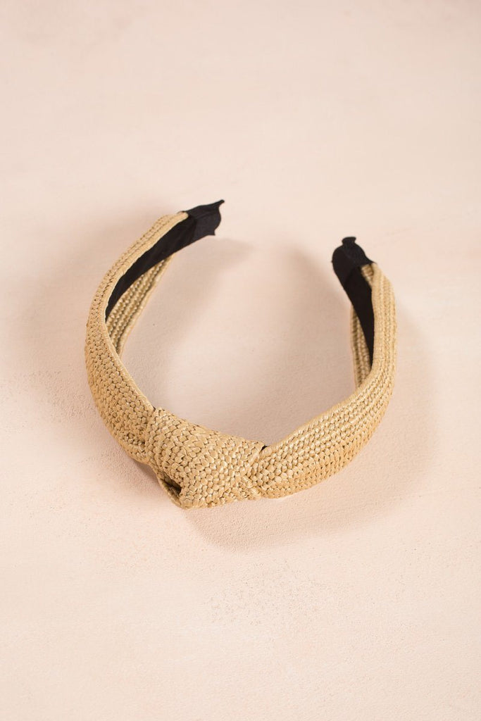 Serena Knotted Straw Headband Hair Ana Straw
