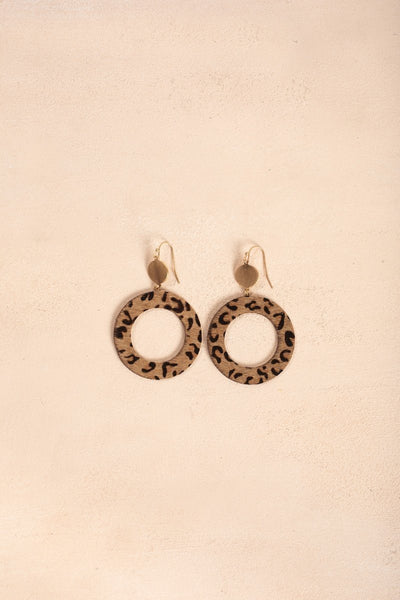 Jordyn Leopard Circle Drop Earrings Earrings Fame Leopard
