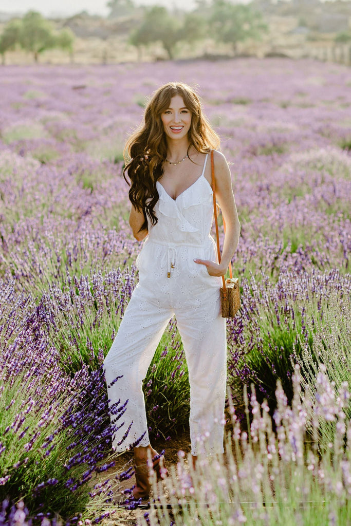 Allison Ruffle Detail Eyelet Jumpsuit Jumpsuits Gilli White Small