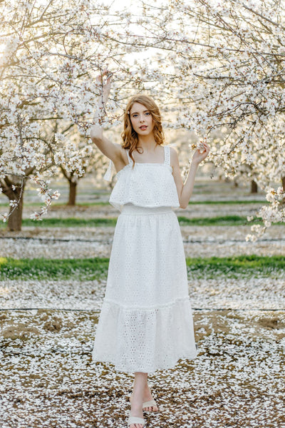 Tori Tie Shoulder Eyelet Midi Dress Dresses Dress Forum White Small