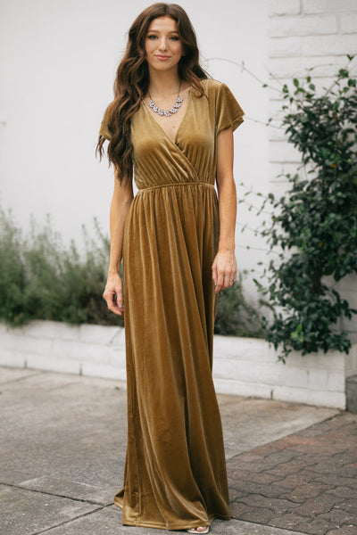 Vanessa Velvet Surplice Maxi Dress Dresses See and Be Seen Gold Small